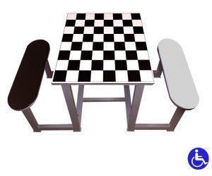 Mesa ajedrez exterior antivandálica 2 bancos polietileno