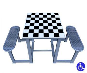 Mesa de ajedrez exterior antivandalica 2 bancos de acero