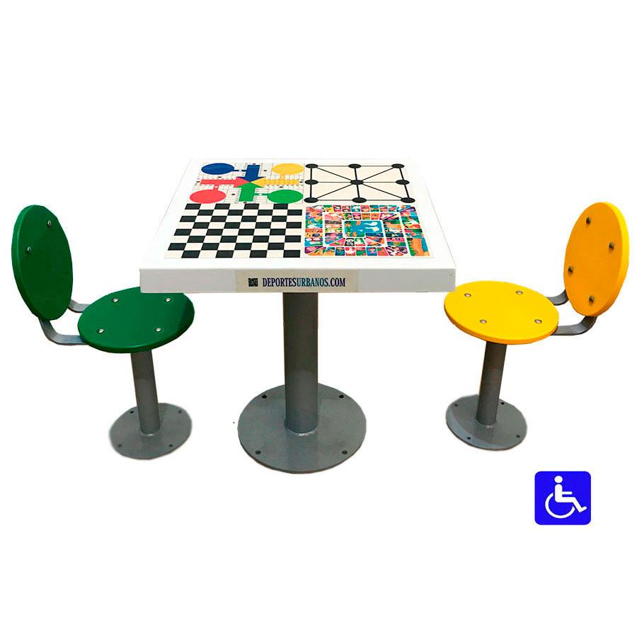 Mesa de ajedrez exterior con asientos con respaldo - Mesas para exterior ...