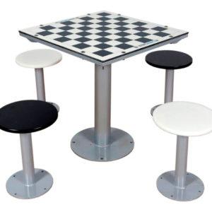 mesa antivandalica con tablero de ajedrez