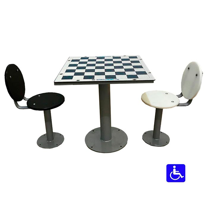 Mesa de ajedrez de exterior con asientos con respaldo