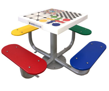 Mesas de juegos para exterior con tablero antivandálico