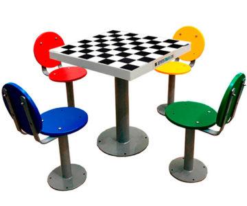 Tablero de ajedrez de exterior antivandálico para colegios e institutos