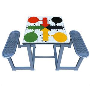 mesa de exterior antivandálica para jugar al parchís