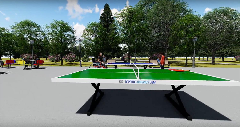 mesa de ping pong exterior antivandálica para coelgios, parques y plazas