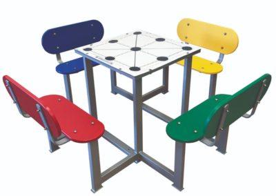 Mesa de juego tres en raya para patios de colegios