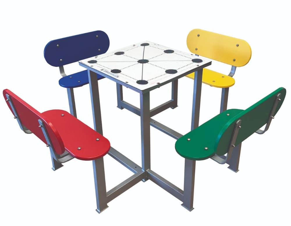 Mesa con juego 3 en raya antivandálica para patios de colegios