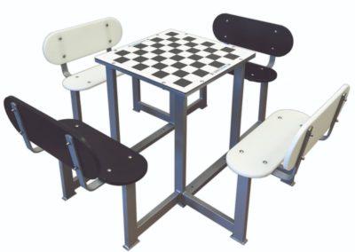 Mesa con juego de ajedrez antivandálica para patios de colegios