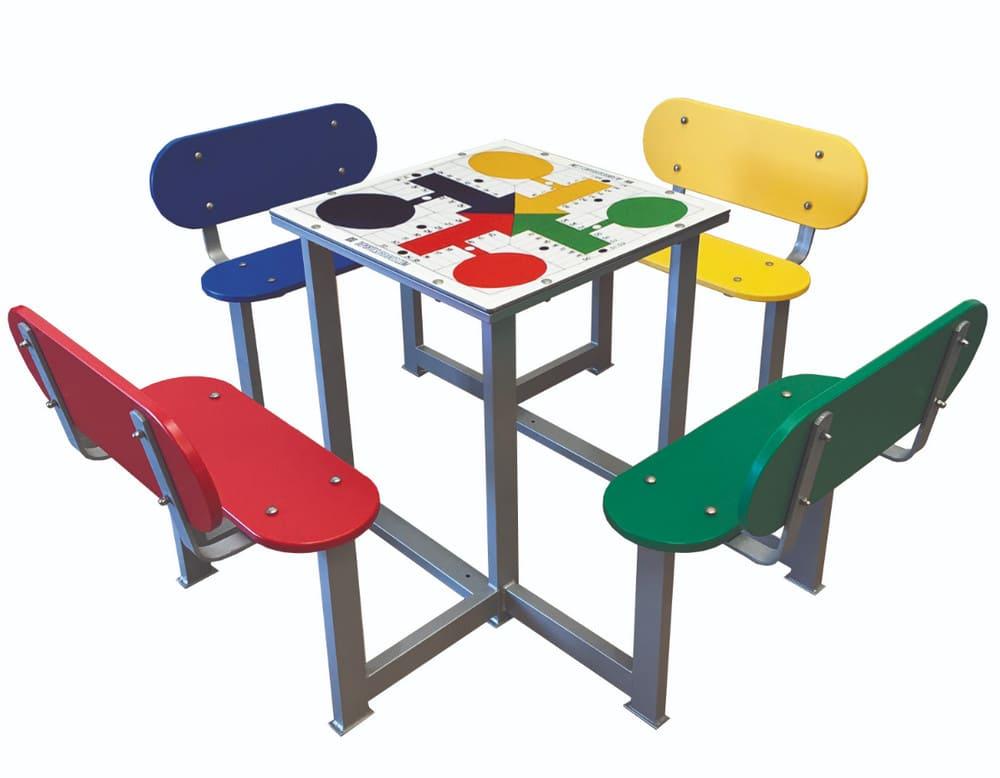 Mesa de parchís antivandálica para patios de colegios