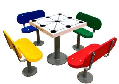 Mesa juego tres en raya para la tercera edad