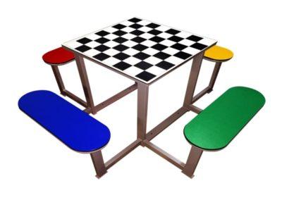 Mesa ajedrez para parques con 4 bancos