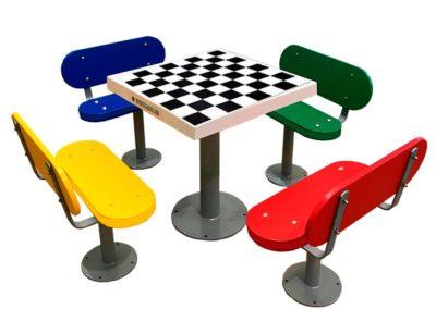 Mesa de ajedrez para personas mayores en residencias