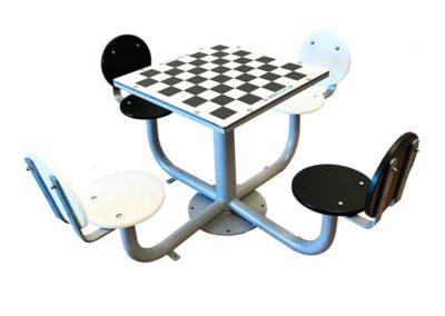 Mesa de ajedrez para plazas, con 4 asientos con respaldo