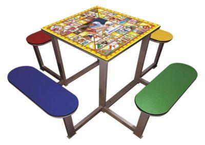 Mesa juego la oca para parques con 4 bancos