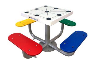Mesa juego 3 en raya con tablero antivandálico