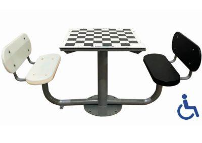 Mesa de ajedrez antivandalica adaptada con 2 bancos