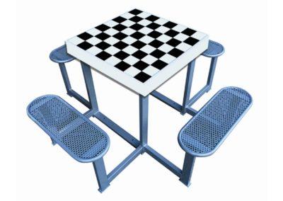 Mesa ajedrez exterior antivandálica Forte con 4 bancos