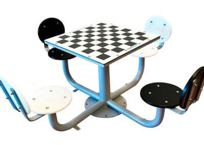 Mesa ajedrez para exterior con 4 asientos con respaldo