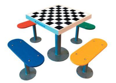Mesa ajedrez exterior antivandálica con 4 bancos independientes