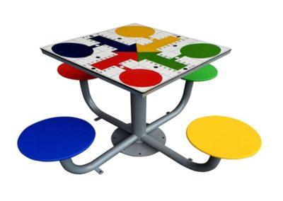 mesa parchís exterior antivandálica mesa tres en raya de exterior antivandálica fabricada por Deportes Urbanos