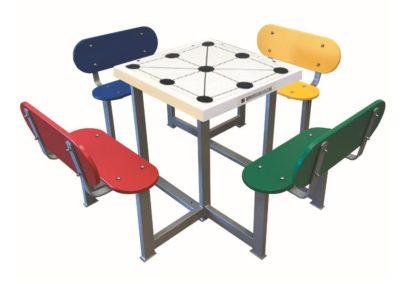 Mesas con juego 3 en raya antivandálica