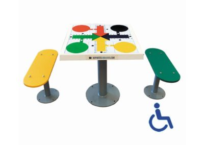 Mesa parchís para parques infantiles