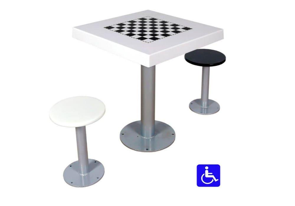 Tablero ajedrez exterior adaptado con 2 asientos