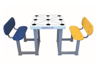 Mesa juegos tres en raya con 2 bancos para exterior