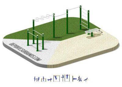 Parque Calistenia Workout 2008: módulos y ejercicios.