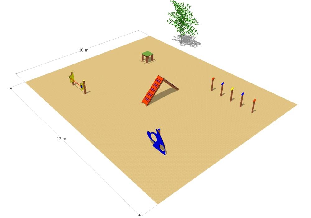Parque canino de agility con 5 obstáculos