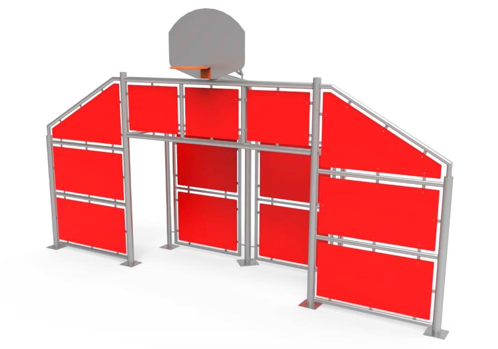 Frontal Multideporte grande con paneles rojos
