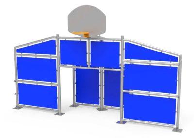 Frontal Multideportivo con paneles azules