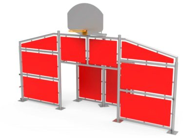 Frontal Multideportivo con paneles rojos