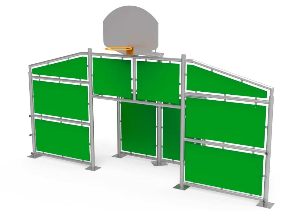 Frontal Multideportivo con paneles verdes