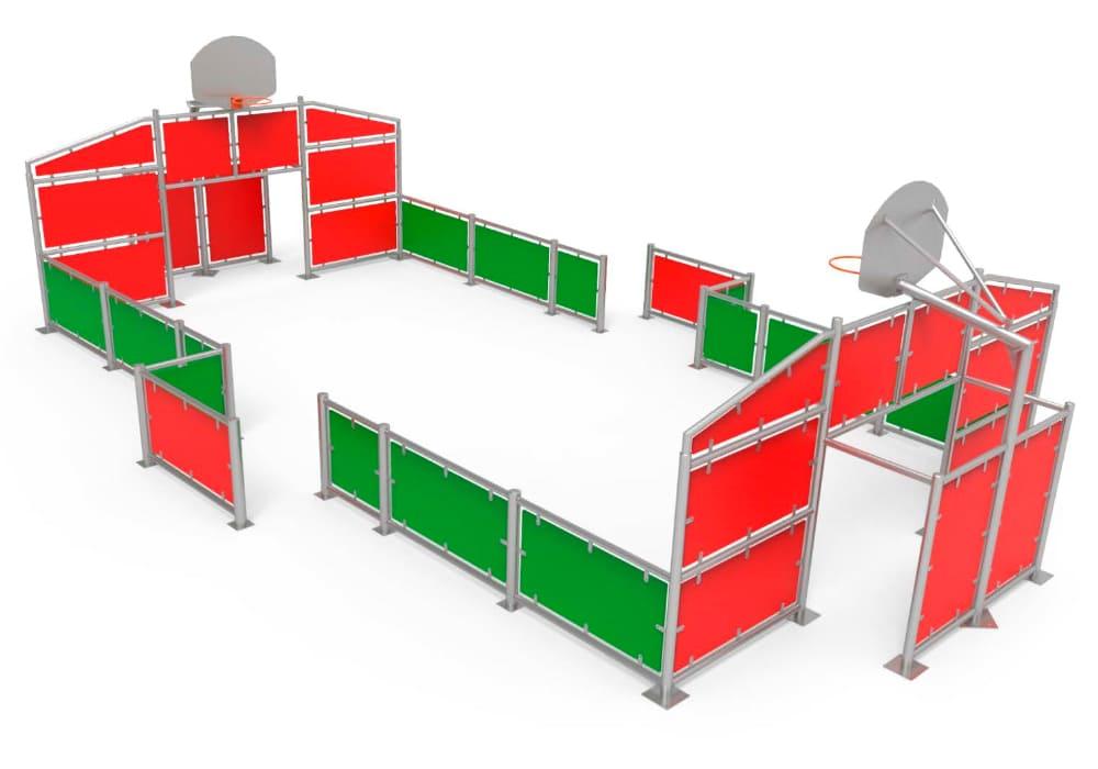 Pista Multideportiva Pequeña con paneles de colores