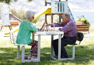 Jugando al ajedrez en el parque