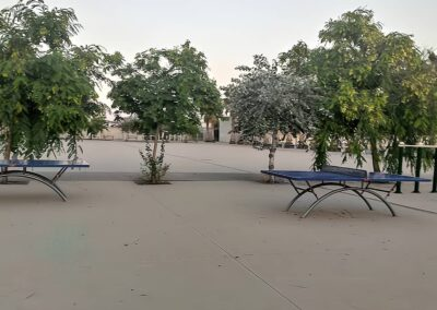 Mesas ping pong Economic Plus en un parque de ciudad