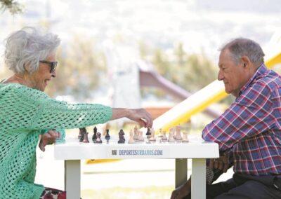 Personas mayores jugando al ajedrez en el parque.