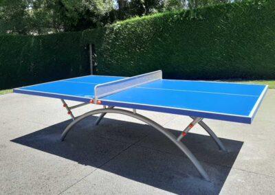 Mesa de ping pong Economic Plus en un jardín privado.